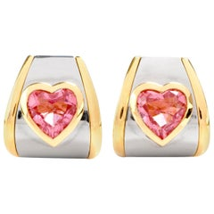 Marina B. Bulgari Pink Tourmaline Heart 18 Karat Gold Clip-On Earrings