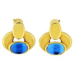 Marina B Cabochon Blue Quartz Yellow Gold Earclips