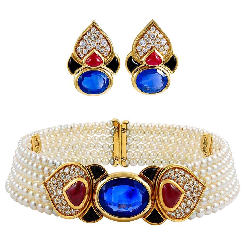 Marina B. Diamond Cabochon Ruby Sapphire Pearl Choker Necklace and Earrings Set