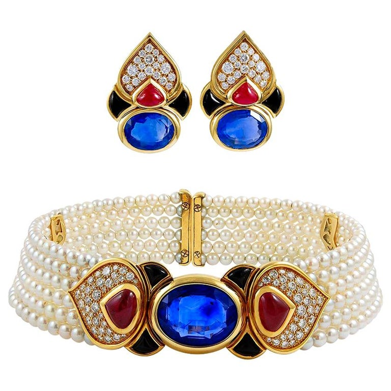 Marina B. Diamond Cabochon Ruby Sapphire Pearl Choker Necklace and Earrings Set For Sale