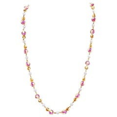 "Marina B. ""Cardan Perle"" Pink Russian Quartz and Pearl Gold Necklace"