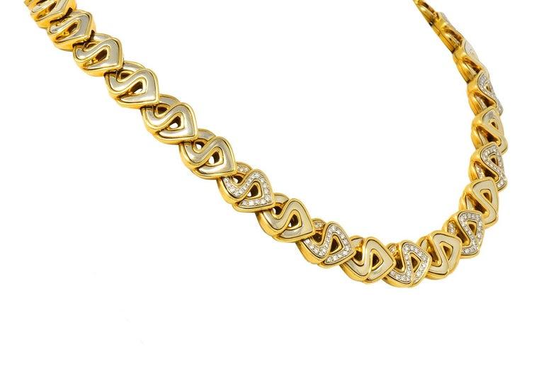 Modernist Marina B. Diamond 18 Karat Two-Tone Gold Italian Soroya Link Necklace For Sale