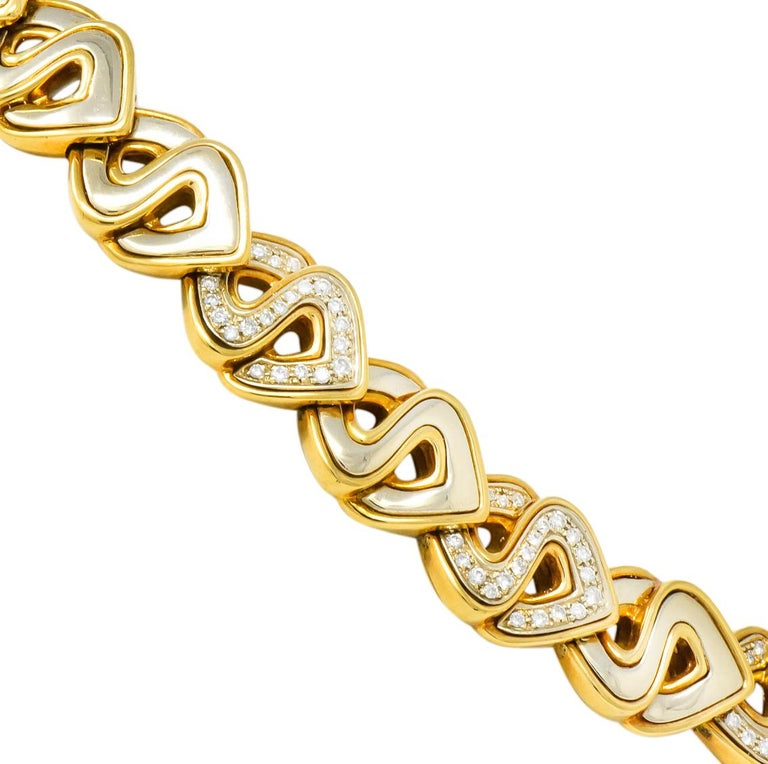 Marina B. Diamond 18 Karat Two-Tone Gold Italian Soroya Link Necklace In Excellent Condition For Sale In Philadelphia, PA