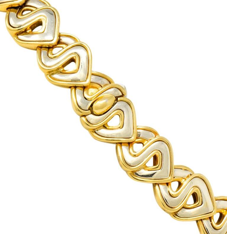 Women's or Men's Marina B. Diamond 18 Karat Two-Tone Gold Italian Soroya Link Necklace For Sale