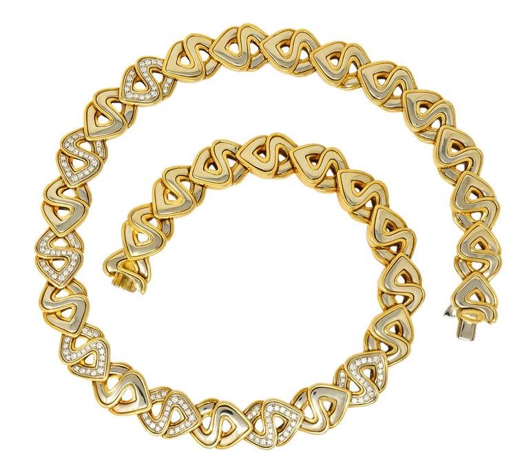 Marina B. Diamond 18 Karat Two-Tone Gold Italian Soroya Link Necklace For Sale 3