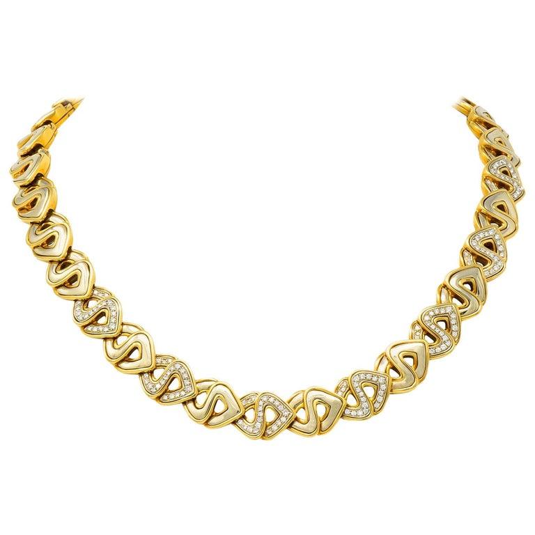 Marina B. Diamond 18 Karat Two-Tone Gold Italian Soroya Link Necklace For Sale