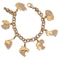 Marina B Diamond and 18 Carat Gold Chinese Zodiac Charm Bracelet