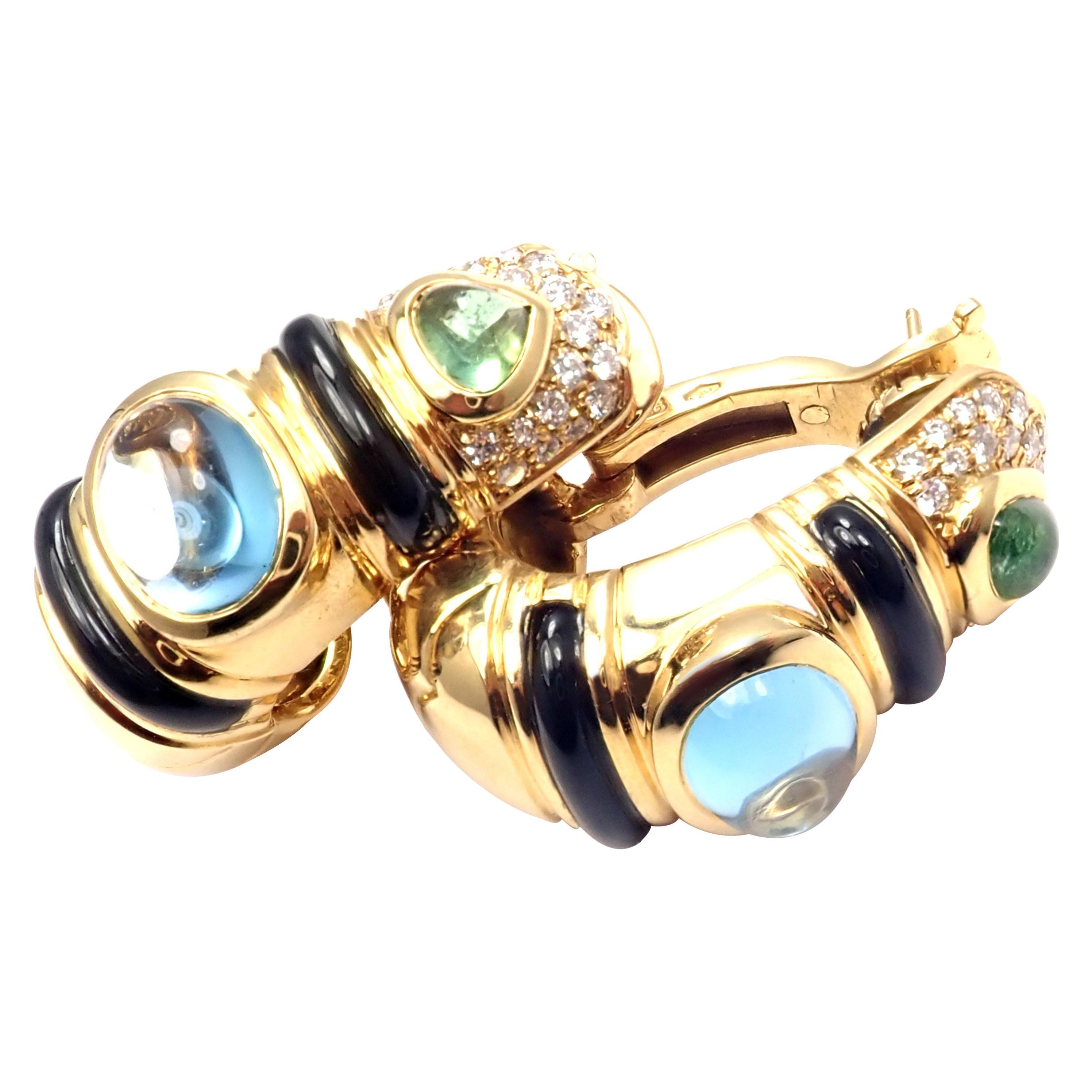 Marina B Diamond Blue Topaz Peridot Large Hoop Earrings