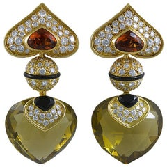 Marina B Diamond, Gem Stone Ear Clips