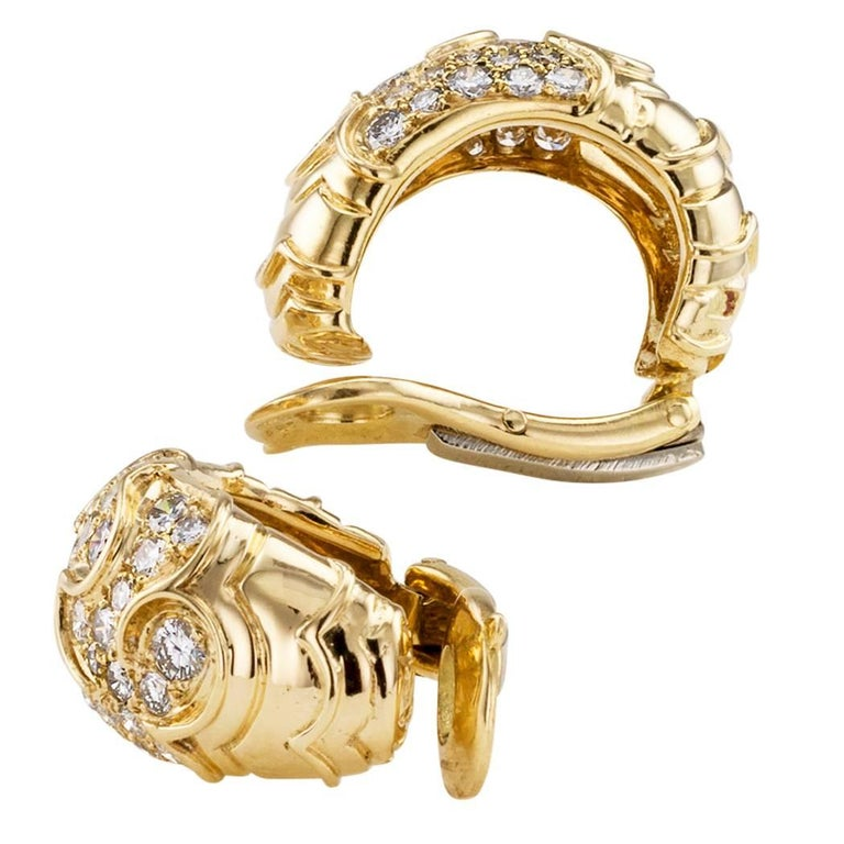 Round Cut Marina B Diamond Gold Half Hoop Earrings For Sale