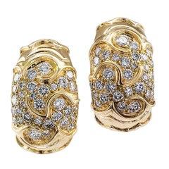 Marina B Diamond Gold Half Hoop Earrings