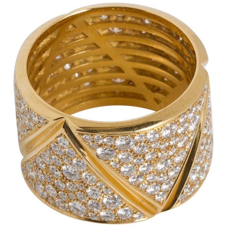 Marina B Diamond Gold Wide Band Ring  For Sale