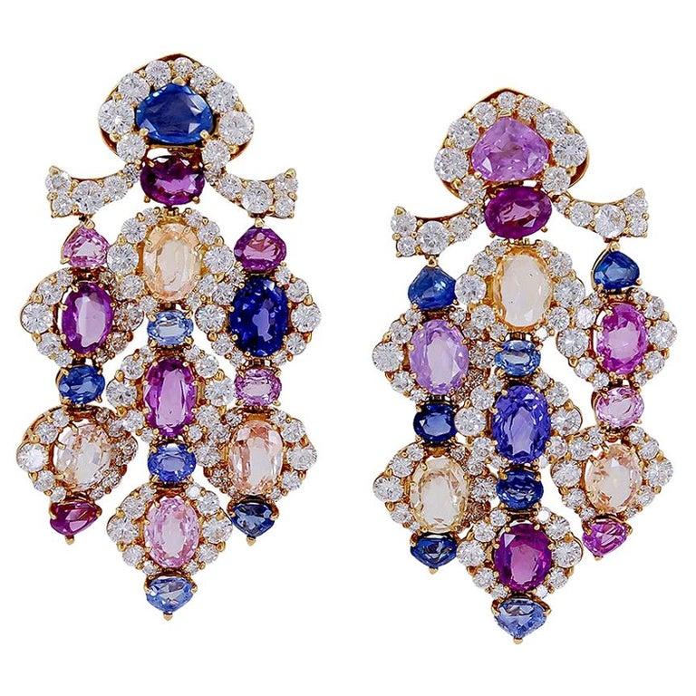 Marina B. diamond and multicolor sapphire ear clips, 1980s