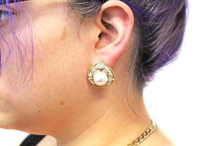 Women's or Men's Marina B Diamond Pearl Teardrop 18 Karat Yellow Gold Ear Clips For Sale