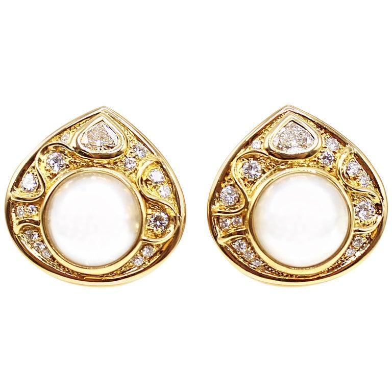Marina B Diamond Pearl Teardrop 18 Karat Yellow Gold Ear Clips For Sale