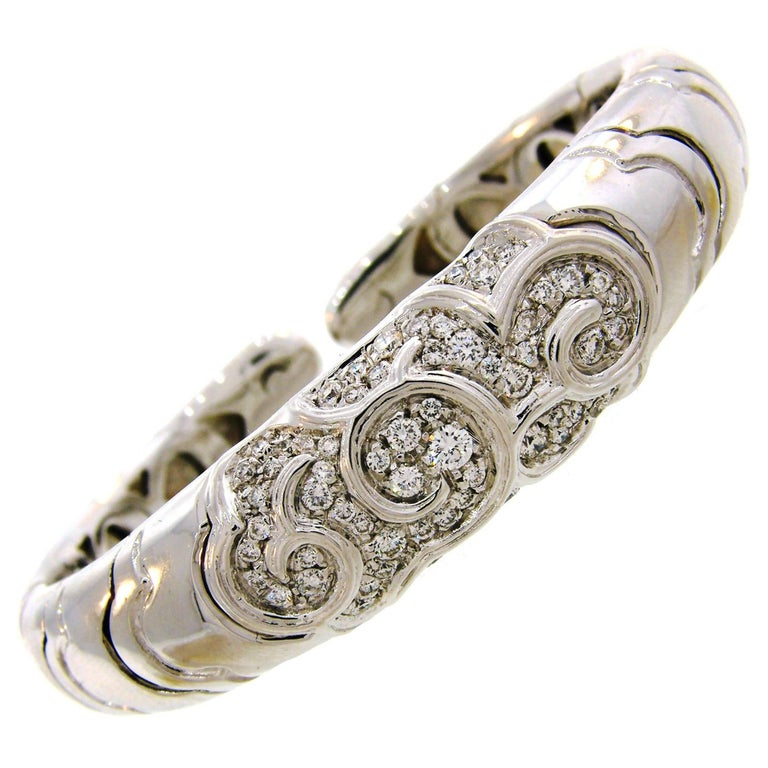 Marina B Diamond White Gold Bangle Bracelet, 1980s