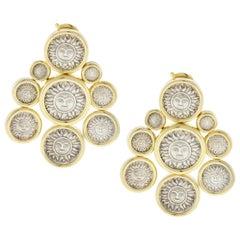 Marina B Donatella 1987 Silver Coin Gold Drop Earrings