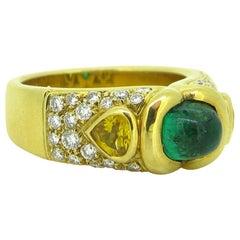 Marina B Emerald Cabochon Cut Yellow Sapphire Diamonds Yellow Gold Ring