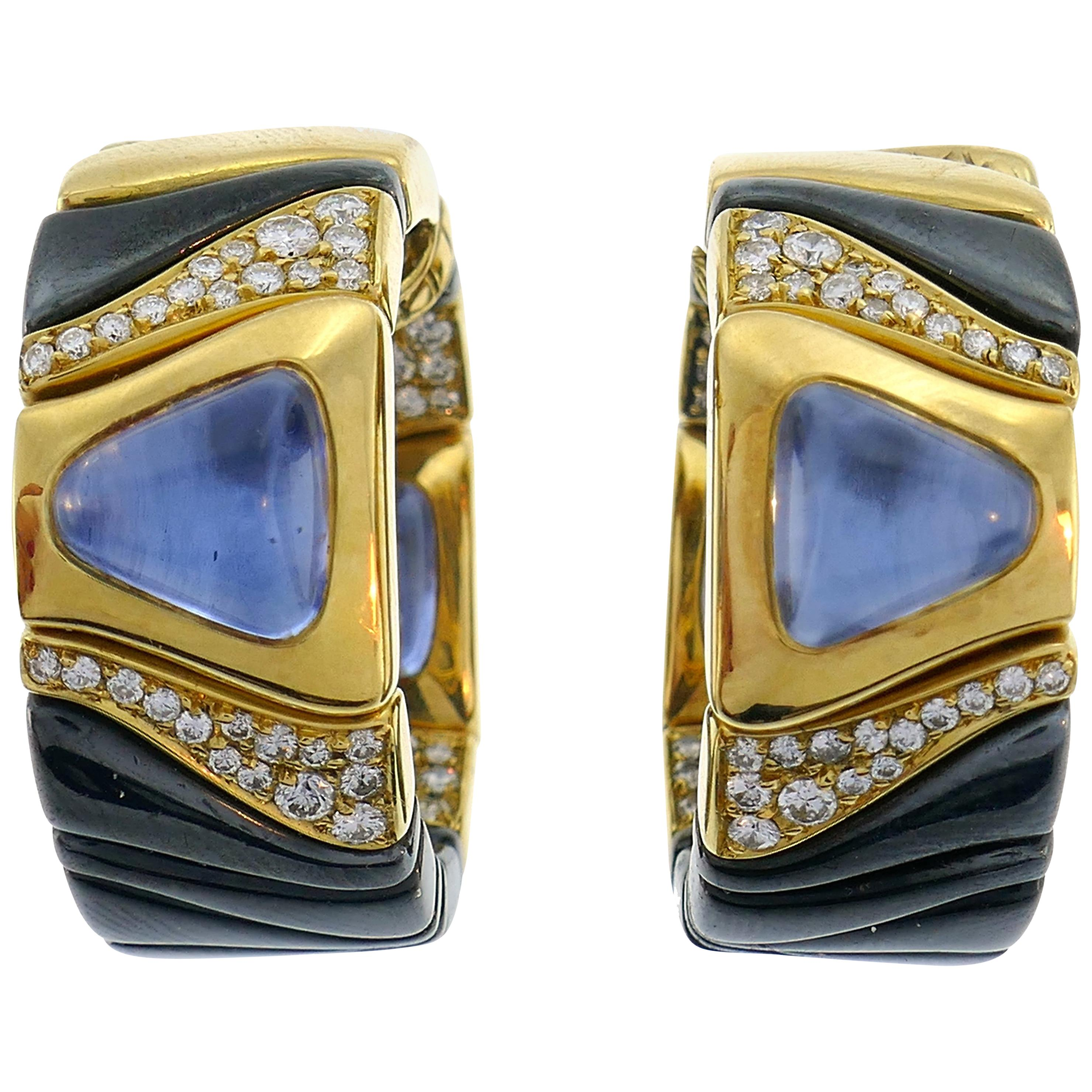 Marina B Enamel Yellow Gold Hoop Earrings with Blue Sapphire Diamond, 1987