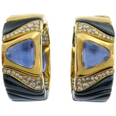 Marina B Enamel Yellow Gold Hoop Earrings with Blue Sapphire Diamond, 1987