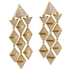 Marina B Geometric Gold Diamond Chandelier Earrings