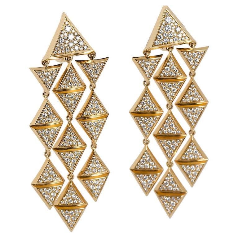 Marina B Geometric Gold Diamond Chandelier Earrings  For Sale