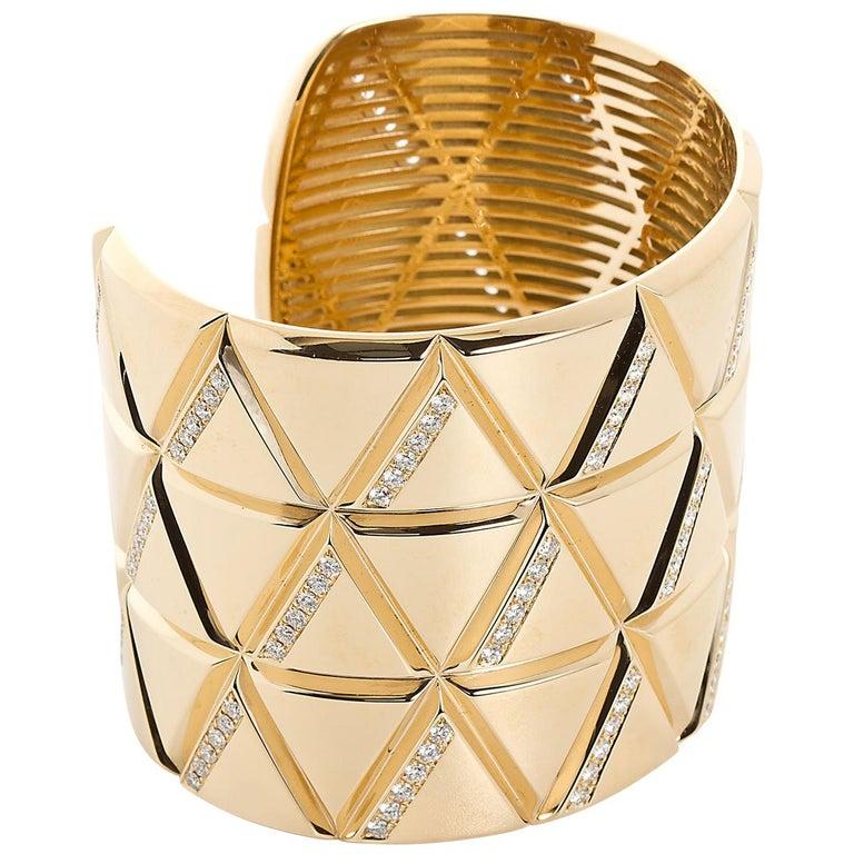 Marina B Gold and Diamond Wide Bangle Cuff  For Sale