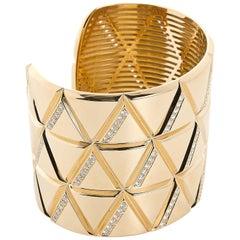 Marina B Gold and Diamond Wide Bangle Cuff