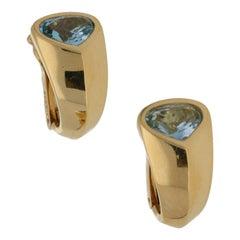 Marina B Gold Aquamarine Earrings 2.86 Carat