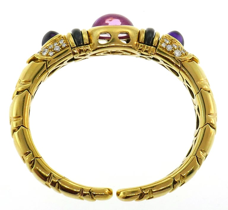 Women's Marina B Gold Bangle Bracelet with Tourmaline Amethyst and Diamond 1980s For Sale