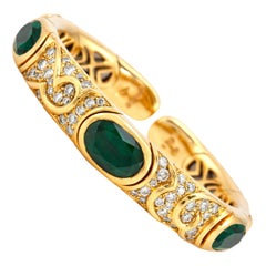 Marina B Gold Cuff Bracelet with Green Tourmaline and Diamonds