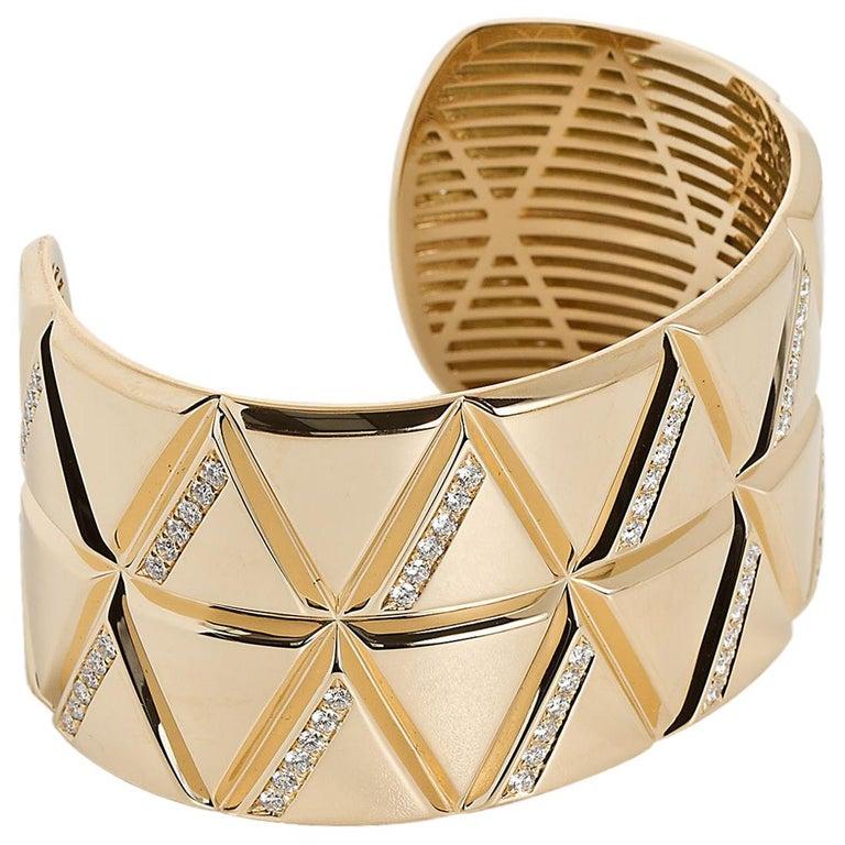 Marina B Gold Diamond Bangle Bracelet  For Sale