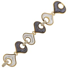 Marina B Gold Diamond Black White Mother of Pearl Bracelet