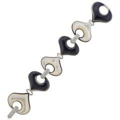 Marina B Gold Diamond Onyx Mother of Pearl Bracelet