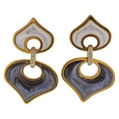 Marina B Gold Mother of Pearl Diamond Earrings