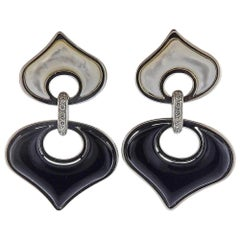 Marina B Gold Onyx Mother of Pearl Diamond Earrings