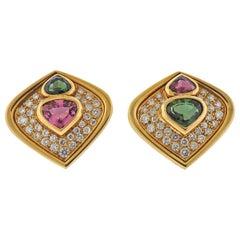 Marina B Green Pink Tourmaline Diamond Gold Earrings