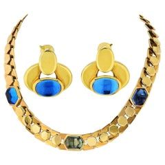 Marina B Honeycomb 18 Karat Gold Link Cabochon Necklace and Earrings Jewelry