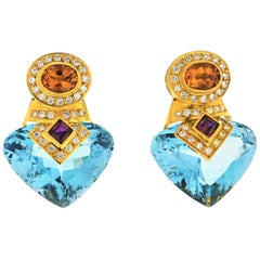 Marina B Multi-Stone, Topaz, Citrine, Diamond, Gold Earrings