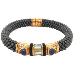 Marina B 'Najwa' Bracelet with Hematite, Sapphire, Aquamarin and Diamonds