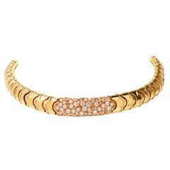 Marina B Onda Diamond 18 Karat Yellow Gold Choker Necklace