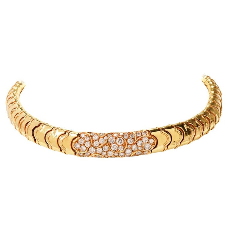 Marina B Onda Diamond 18 Karat Yellow Gold Choker Necklace For Sale