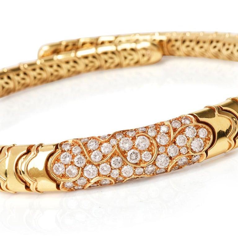 Marina B Onda Diamond 18 Karat Yellow Gold Choker Necklace In Excellent Condition For Sale In Miami, FL