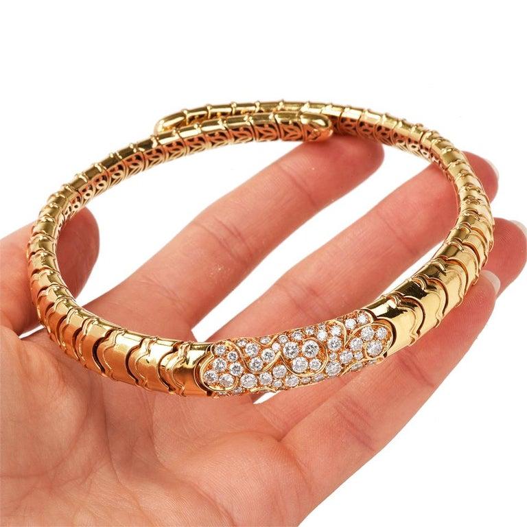 Women's Marina B Onda Diamond 18 Karat Yellow Gold Choker Necklace For Sale