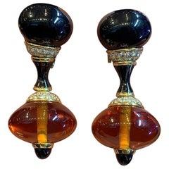 Marina B Onyx and Citrine Bead Dangle Earrings