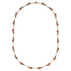 Marina B. Pearl, Onyx and Carnelian Cardan Necklace