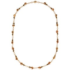 Marina B. Pearl, Onyx and Citrine Cardan Necklace