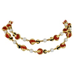 Marina B Pearl, Onyx, Carnelian Long Necklace