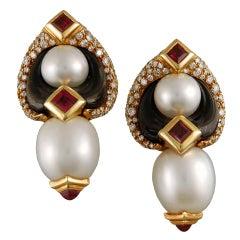 Marina B. Pearl Tourmaline Diamond Gold Earclips