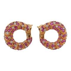 Marina B Pink Sapphire Diamond Rose Gold Onda Earrings